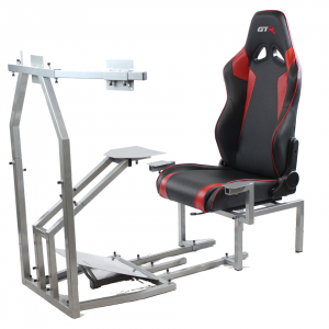 CRJ Model with Adjustable Leatherette Seat, Flight Simulation Cockpit with Dual Control Mount and Triple or Single Monitor Stand – Color Seat Options Available