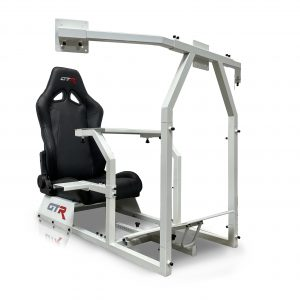 GTA-F™️ Model White Frame Triple or Single Monitor Stand with Adjustable Leatherette Seat – Color Options Available  (Backorder Queuing 4 weeks)