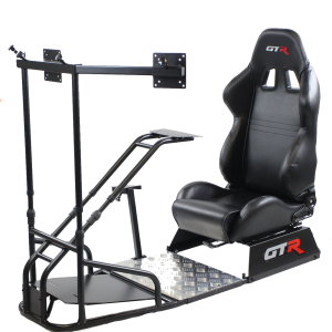 GTSF Model Black Frame with Gear Shifter Mount, Triple or Single Monitor Mount and Real Racing Seat- Color Options Available (Backorder Queuing 4 weeks)