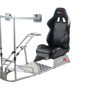GTSF Model Silver Frame with Gear Shifter Mount, Triple or Single Monitor Mount and Real Racing Seat- Color Options Available GTR Pass Discounted